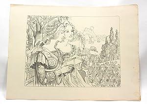 """Légende dorée"""" - Lithographie originale sur Chine: POINT Armand"""