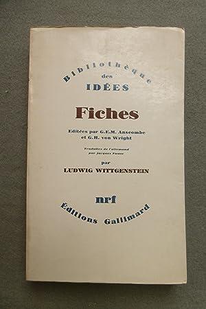 FICHES. Éditées par G.E.M. Anscombe et G.H.: WITTGENSTEIN, LUDWIG.