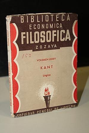 Biblioteca Económica Filosófica Zozaya.- Lógica.- Kant: Kant, Immanuel.