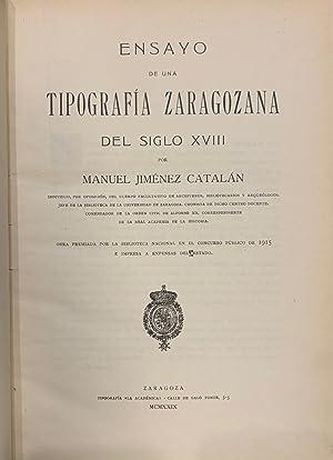 Ensayo de una Tipografía Zaragozana del Siglo: Manuel Jiménez Catalán