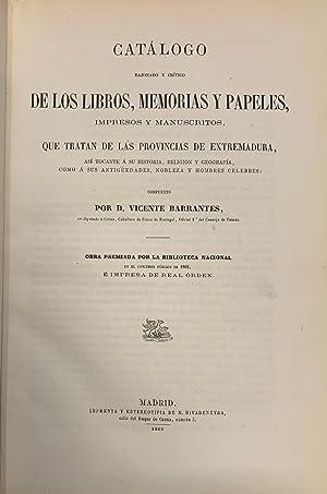 Catálogo razonado y crítico de los libros,: Vicente Barrantes