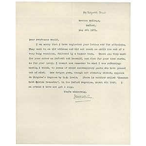 Typed Letter, Signed, on Dragon Poems: Tolkien, J. R.
