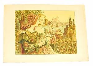 """Légende dorée"""" - Lithographie originale sur Japon: POINT Armand"""