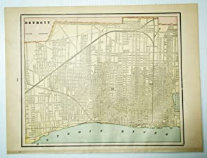 1889 Color City Map of Detroit, Michigan (MI)