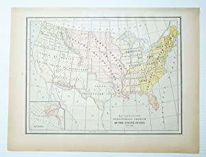 1889 Color Map Showing the Territorial Growth of the United States 1776-1887