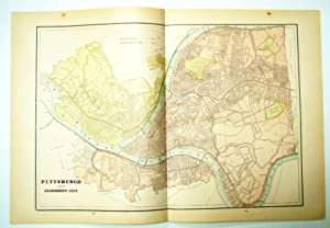 1889 Color Map of Pittsburgh, Pennsylvania (PA) and Allegheny City