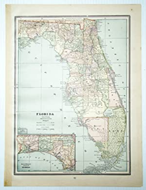 1889 Color Map of the State of Florida