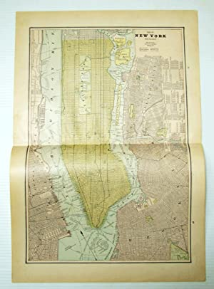 1889 Color Map of New York City (Manhattan) and Vicinity