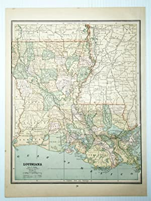 1889 Color Map of the State of Louisiana