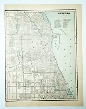 1889 Color City Map of Chicago, Illinois (IL)