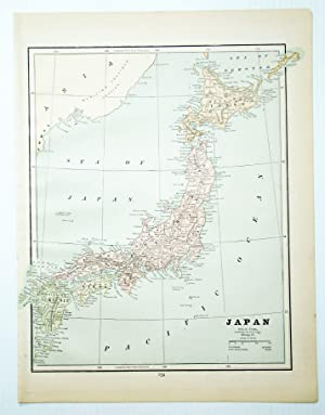 1889 Color Map of Japan (Nihon)