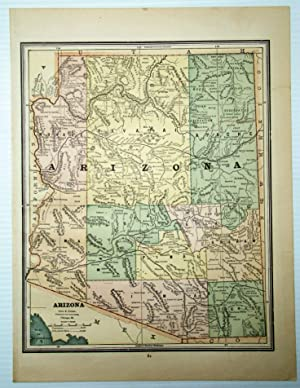 1889 Color Map of the State of Arizona