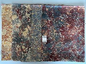 5 verschiedene handgefertigte Bogen Buntpapier marmoriert 47-50: Buntpapier. - -