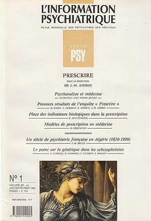 L'Information Psychiatrique - Revue mensuelle des Psychiatres: Pierre Benoit, D.Dassa,