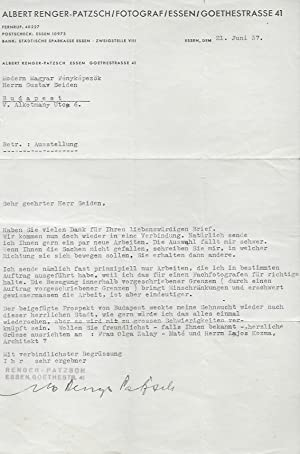 Typewritten Letter Signed by Albert Renger-Patzsch to Gustav Seiden