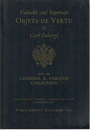 Objets de Vertu by Carl Faberge, Goldsmith and Jeweller to the Russian Imperial Court [Sale 2631]...
