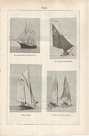 Imagen del vendedor de LAMINA ESPASA 36878: Yates del Duque de Westminster, de regatas, para el hielo y para playa a la venta por EL BOLETIN