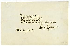 Eigenh. Gedicht mit U.: Grimm, Jacob, Germanist