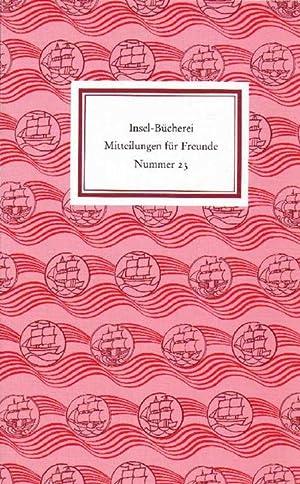 Insel-Bücherei. Mitteilungen für Freunde. Nr. 23. Frühjahr: Sarkowski, Heinz