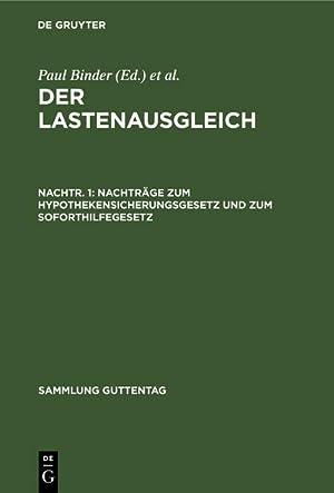 Seller image for Nachträge zum Hypothekensicherungsgesetz und zum Soforthilfegesetz for sale by AHA-BUCH GmbH