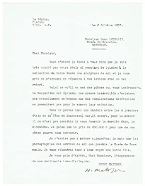 1 Autograph letter signed, 1 typed letter: Matisse, Henri, French