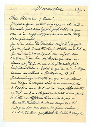 Autograph letter signed.: Matisse, Henri, French