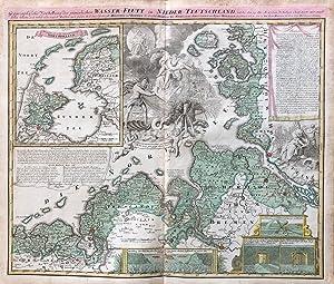 Geographische Vorstellung der jämerlichen Wasser-Flutt in Nieder-Teutschland,: Homann, Johann Baptist