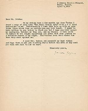 Typed letter Signed,, 4to, Paris, France, April: JOYCE, JAMES