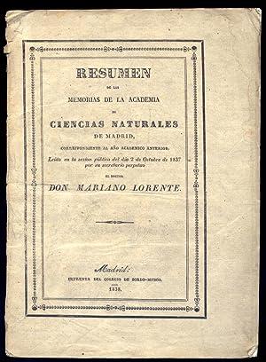 Resumen de las Memorias de la Academia: LORENTE, Mariano.