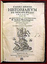 Historiarum de occidentali imperio libri XX.: Sigonio, Carlo.