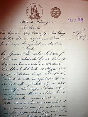 """Regno d'italia - Ufficio Ipotecario di Siracusa - Nota di Trascrizione 18 Luglio 1924"""""""