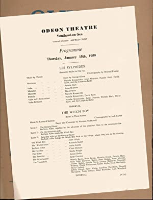London's Festival Ballet Touring Programme with Programme for Southend-on-Sea January 15th 1959.