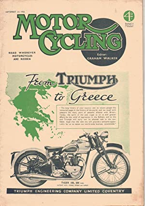MOTOR CYCLING Magazine. September 30, 1943: Edited by Graham