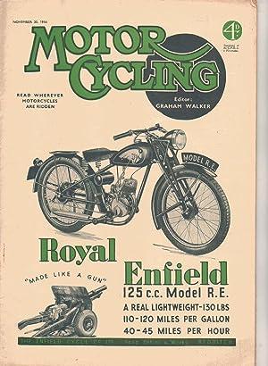 MOTOR CYCLING Magazine. November 30, 1944. Front Cover: Royal Enfield: Graham Walker: Editor