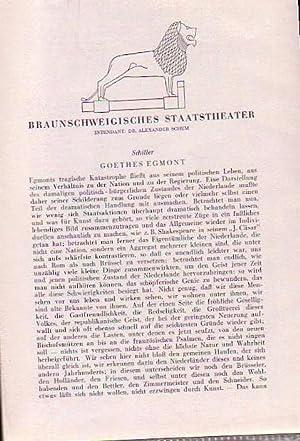 Braunschweigisches Staatstheater. Intendant: Alexander Schum. Besetzungszettel für: Braunschweiger Staatstheater:
