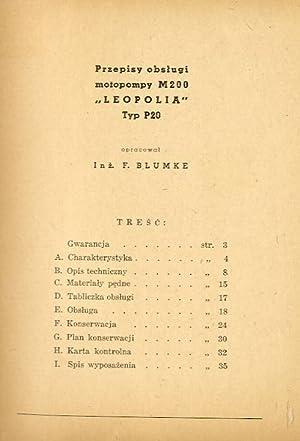 """Przepisy obslugi motopompy M200 """"Leopolia"""" Typ P20."""