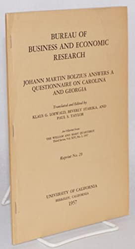 Johann Martin Bolzius answers a questionnaire on: Bolzius, Johann Martin,