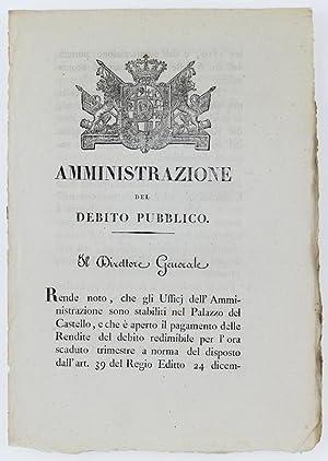 Immagine del venditore per AMMINISTRAZIONE DEL DEBITO PUBBLICO. Torino, 3 aprile 1820.: venduto da Bergoglio Libri d'Epoca