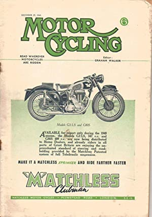 MOTOR CYCLING Magazine. December 29, 1949. Front: Edited by Graham