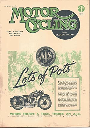 MOTOR CYCLING Magazine. September 16, 1943. Front: Edited by Graham