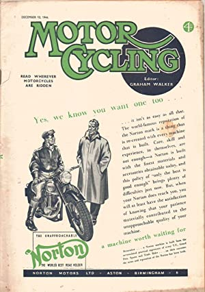 MOTOR CYCLING Magazine. December 12, 1946. Front Cover: Norton Motor Cycle: Graham Walker: Editor