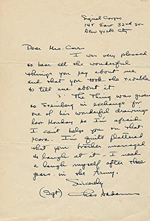 AUTOGRAPH LETTER SIGNED (ALS): ADDAMS, Charles