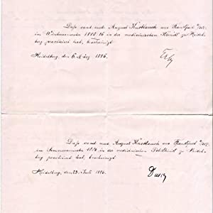 Autographen von 3 großen Heidelberger Mediziner a.e.Blatt,: Czerny, Vinzenz v.;