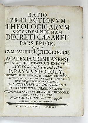 Ratio praelectionum theologicarum secundum normam decreti Caesarei: Buntpapiereinband - J.