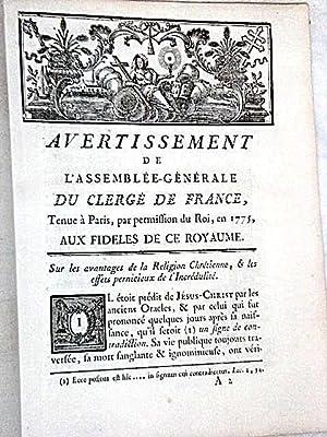 Avertissement de l'Assemblée Générale du Clergé de: LE FRANC DE