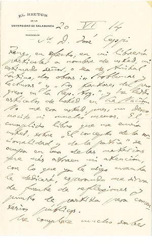 Autographed Letter Signed: Miguel de Unamuno