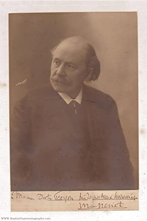Fine portrait photo by H. Manny, signed and inscribed (Jules, 1842-1912, French Composer)
