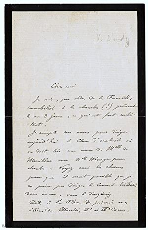 Autograph Letter Signed in French with translation, to an unnamed correspondent (Vincent, 1851-19...