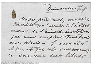 Autograph Letter Signed on card, in French with translation, signed 'Christine', to Charlotte, La...