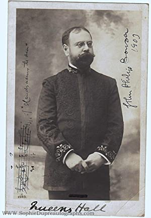 Fine postcard photo by J. Beagles, signed and dated with an autograph musical quotation (John Phi...